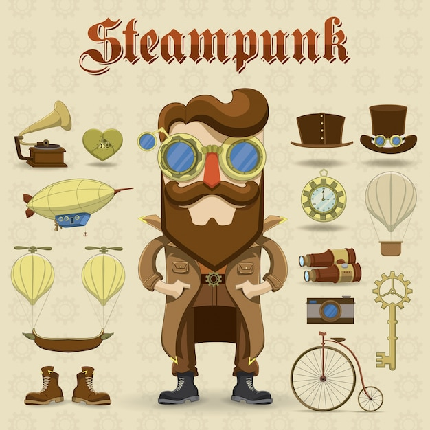 Charater steampunk vector gratuito