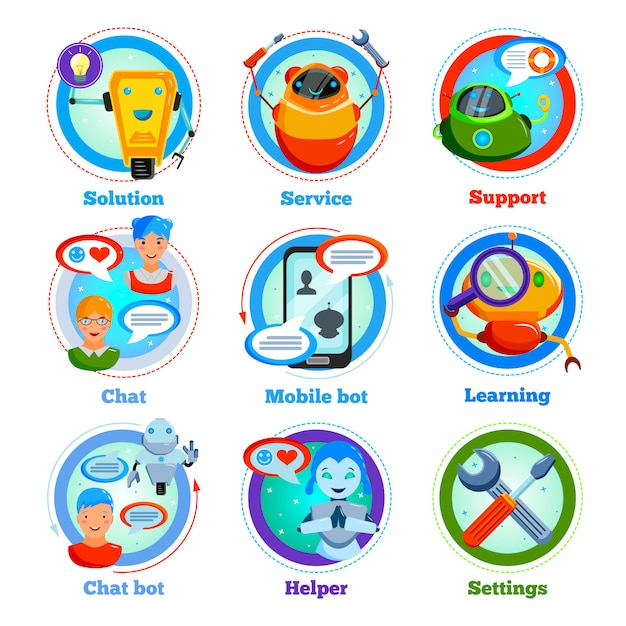Chat bot iconos planos vector gratuito