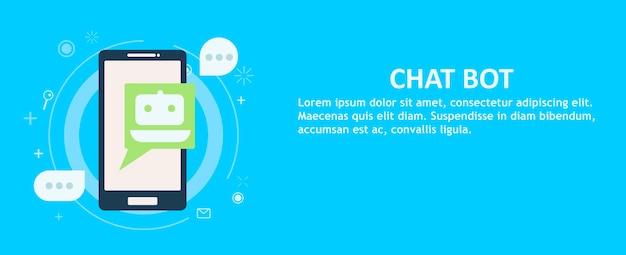 Chat bot en el teléfono en la mano. bandera. vector gratuito