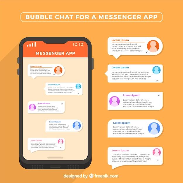 Chat de burbujas para aplicación de mensajería en estilo plano vector gratuito