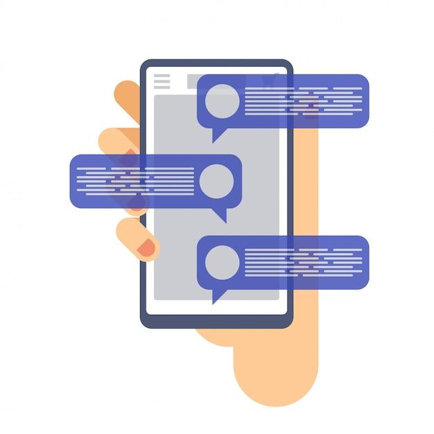 Chatear las notificaciones de mensajes en el teléfono móvil. mano que sostiene el teléfono inteligente. Vector Premium