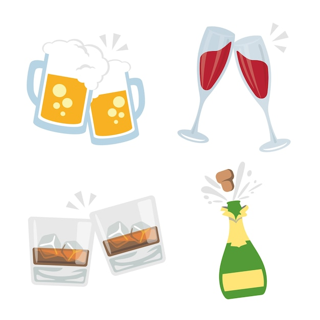 Cheers clink glasses bebidas alcohólicas drink party vector Vector Premium