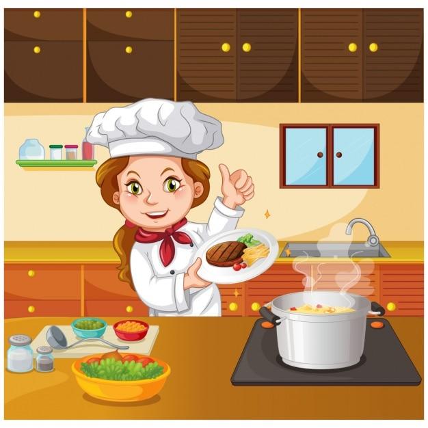 Chef cocinando en la cocina descargar vectores premium for Cocinar imagenes animadas