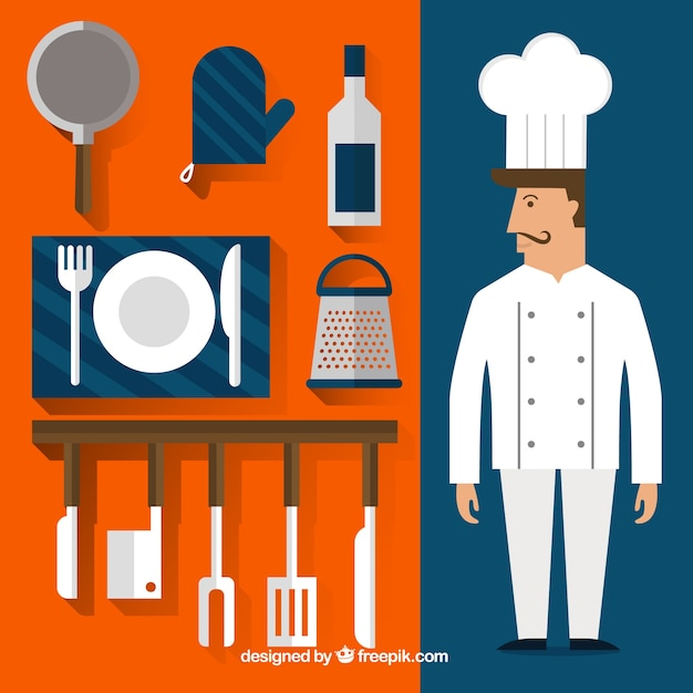 Chef de cocina y art culos descargar vectores gratis for Articulos para chef