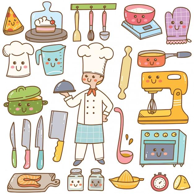 Chef De Dibujos Animados Con Equipo De Cocina Kawaii Doodle