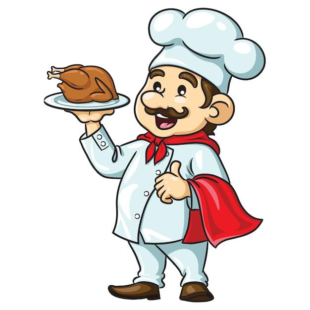 Chef de dibujos animados con pollo asado Vector Premium