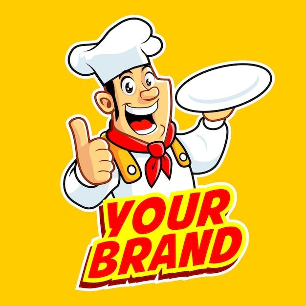 Chef hombre con el dedo pulgar. Vector Premium