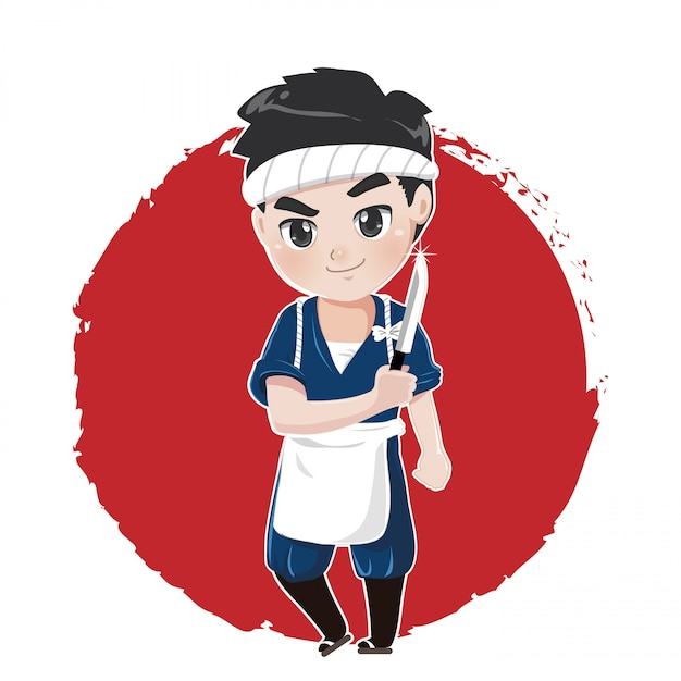 El chef japonés mostrará habilidades de disección para cocinar comida japonesa usando un cuchillo afilado Vector Premium