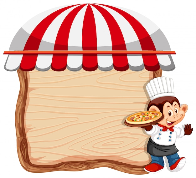 Chef mono sobre fondo de madera vector gratuito