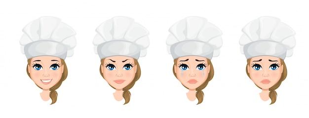 Chef mujer cara con varias emociones Vector Premium