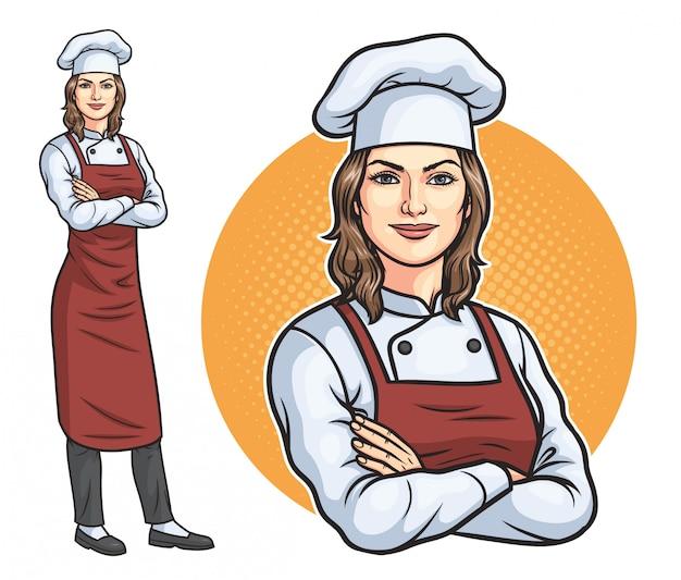 Chef mujer de pie Vector Premium