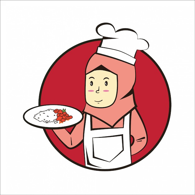 Chef musulmán con plato Vector Premium