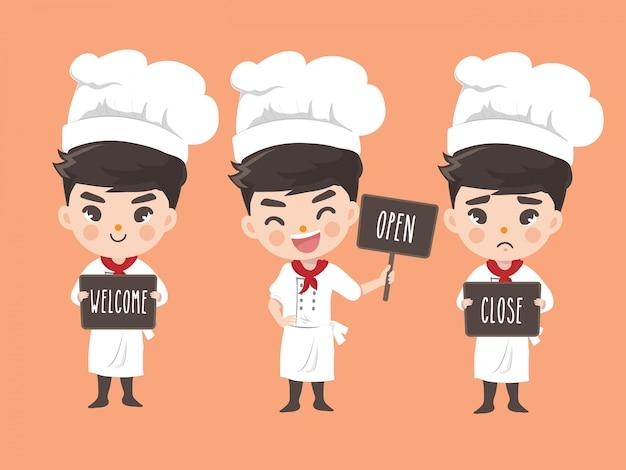 Chef niño tiene un cartel en la parte delantera de la tienda Vector Premium
