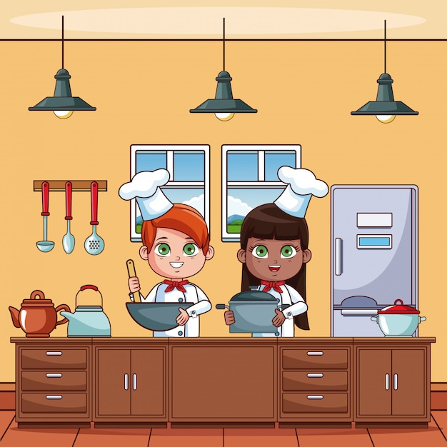 Chef Niños Cocinando En Dibujos Animados De Cocina Descargar