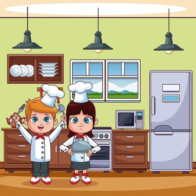 Chef ni os cocinando en dibujos animados de cocina for Programas de dibujo de cocinas gratis