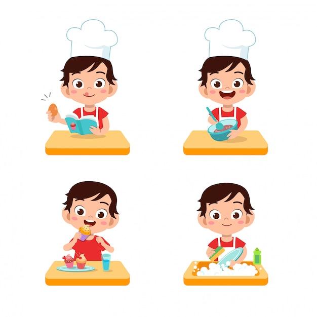 Chef niños cocinando Vector Premium