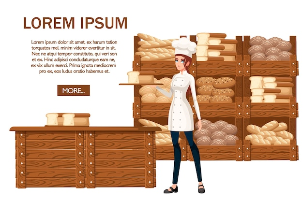 Chef de panadería de mujeres. ilustración sobre fondo blanco. Vector Premium