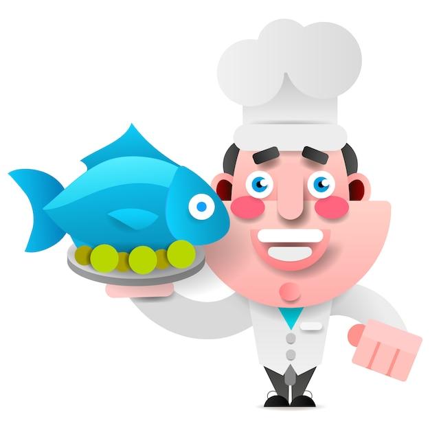 Chef con pescado en una bandeja Vector Premium