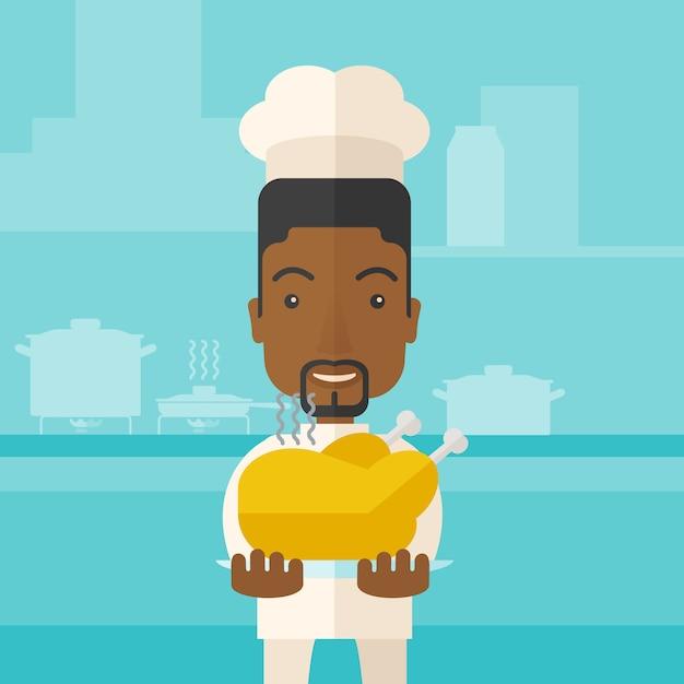 Chef presentando un sabroso pavo cocido. Vector Premium