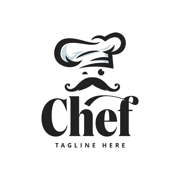 Chef restaurant logo stock ilustraciones plantilla Vector Premium