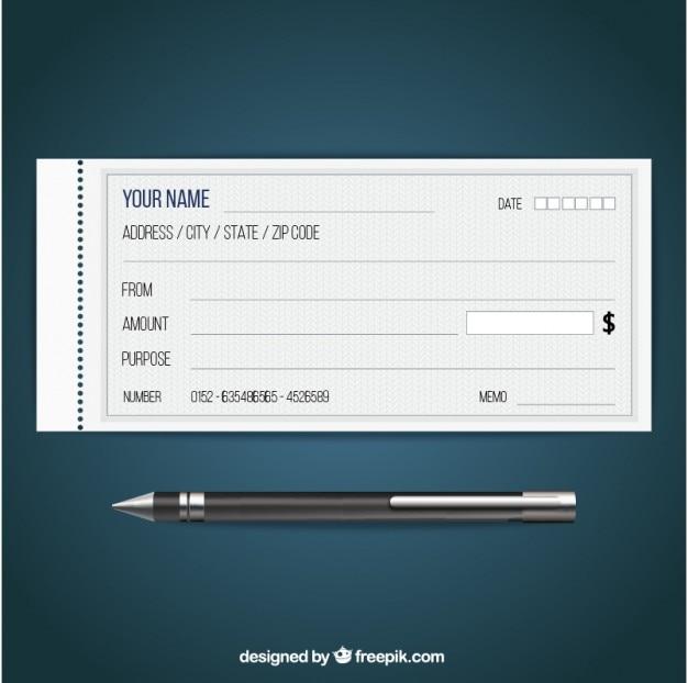 Cheque En Blanco Vector Premium