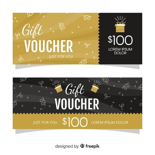 Cheque regalo dorado vector gratuito