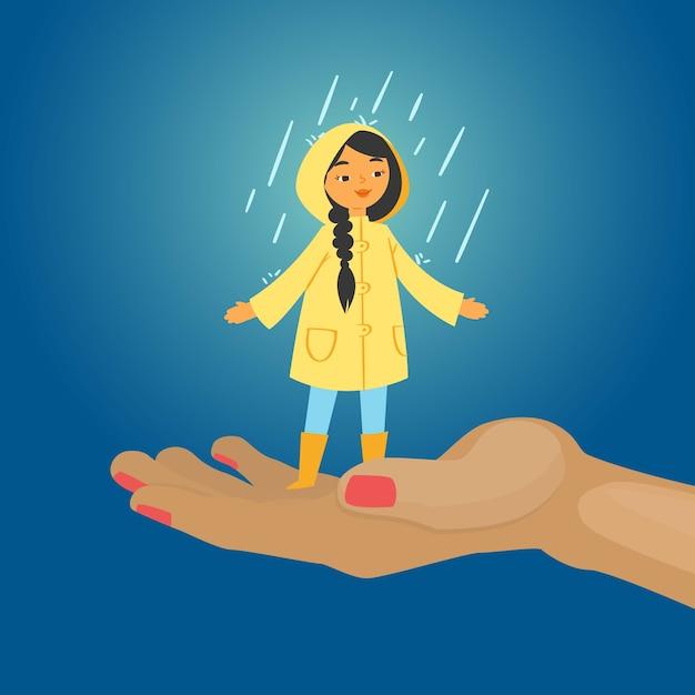 Chica alegre bajo la lluvia, fondo azul, día de otoño feliz y colorido, niño sin paraguas, ilustración. humanos en la calle, niña sonriente con botas, manto amarillo, tiempo lluvioso. Vector Premium