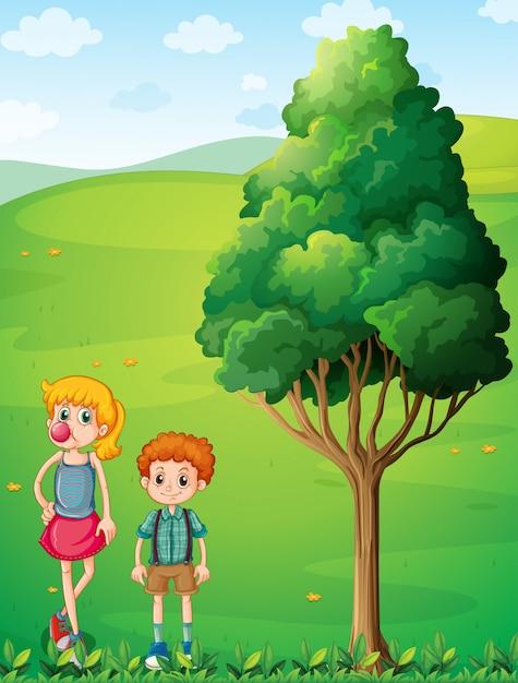 Una chica alta con su hermano en la cima de la colina. vector gratuito