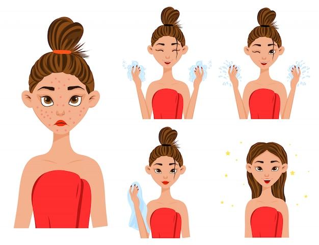 Chica antes y después del tratamiento del acné. Vector Premium