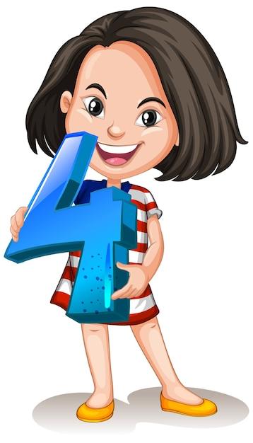 Chica asiática sosteniendo matemáticas número cuatro vector gratuito
