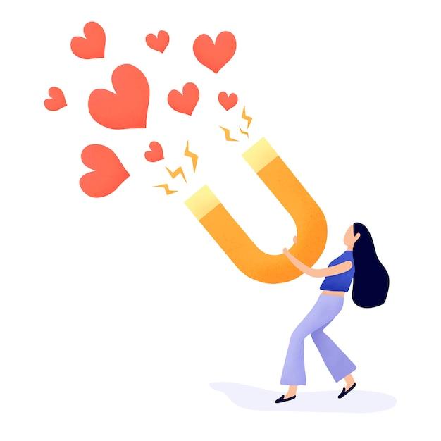 Chica atrayendo más seguidores de vectores vector gratuito