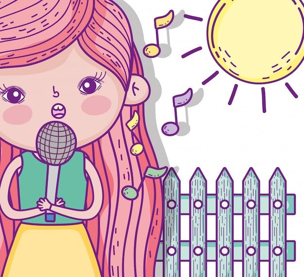 Chica de belleza cantando música con sol Vector Premium