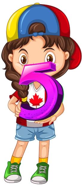 Chica canadiense con gorra sosteniendo matemáticas número cinco vector gratuito