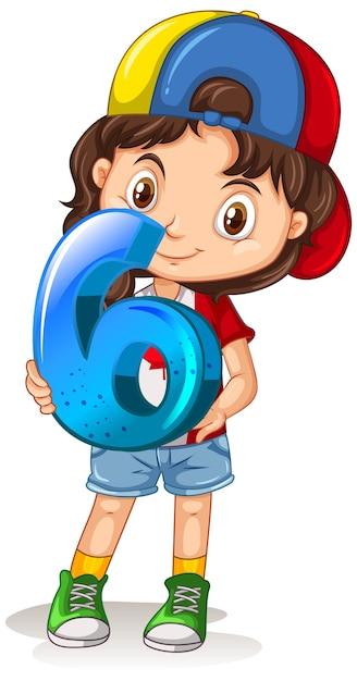 Chica canadiense con gorra sosteniendo matemáticas número seis vector gratuito