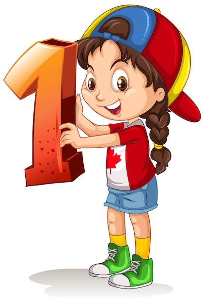 Chica canadiense con gorra sosteniendo matemáticas número uno vector gratuito
