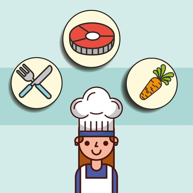 Chica chef dibujos animados y pescado zanahoria tenedor cuchillo Vector Premium