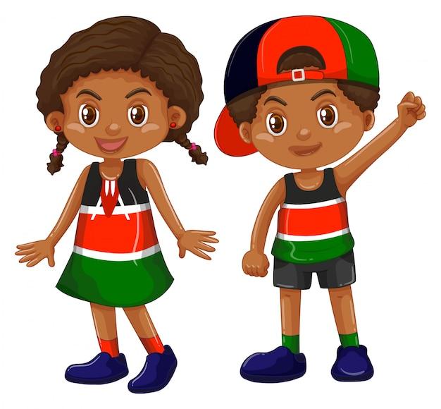 Chica y chico de kenia vector gratuito