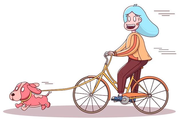 Chica ciclista pasear con un perro. estilo de vida deportivo saludable, al aire libre. Vector Premium