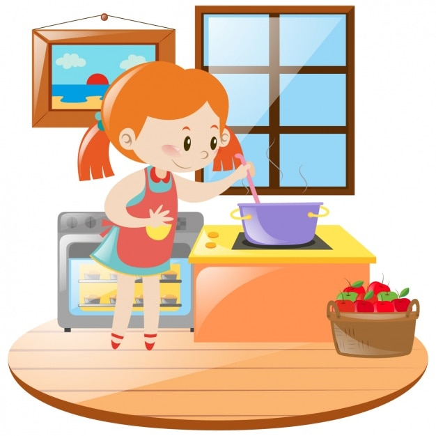 Chica cocinando en la cocina descargar vectores gratis for Cocinar para 40 personas