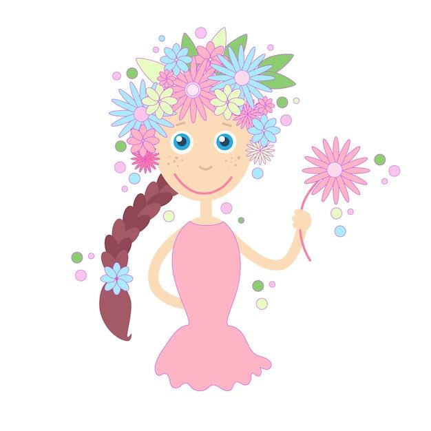 Chica De Dibujos Animados Flores Cabello Primavera Verano Concepto