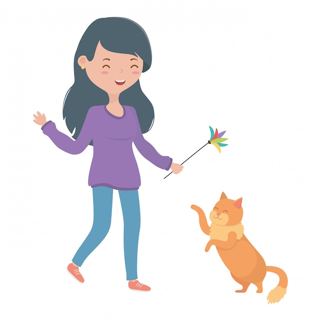 Chica con dibujos animados de gato vector gratuito