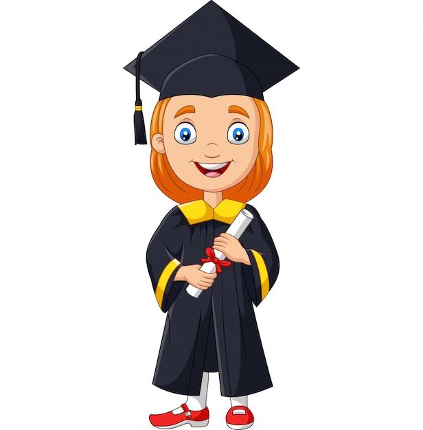 Chica de dibujos animados en traje de graduación con un diploma Vector Premium