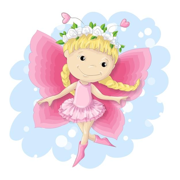 Chica dulce mariposa en un vestido rosa. Vector Premium