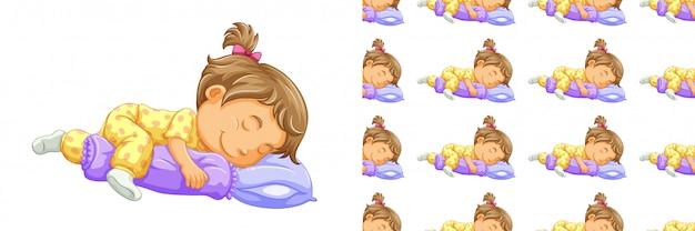 Chica durmiendo de patrones sin fisuras aislado en blanco vector gratuito
