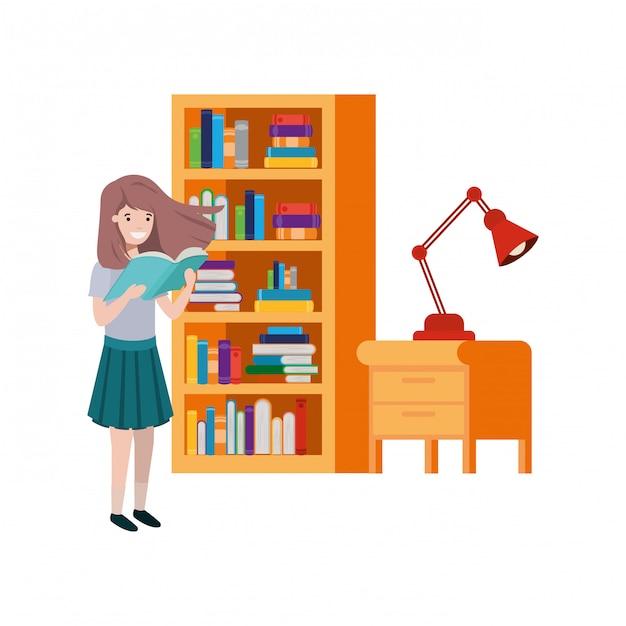 Chica estudiante con libro de lectura en las manos vector gratuito