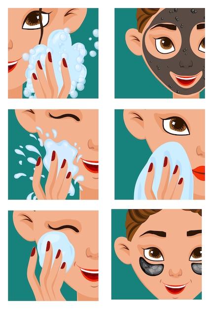 Chica con etapas de cuidado de la piel. Vector Premium