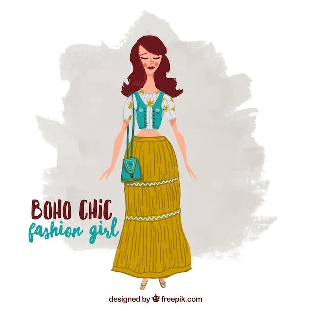Chica con una falda largo y ropa estilo bohemio Vector Premium