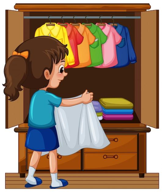 Put Away Clothes En Espanol ~ Chica guardando la ropa en el armario descargar vectores