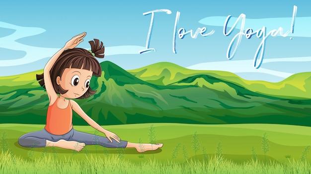Chica Haciendo Yoga En El Parque Con La Frase L Amor Yoga