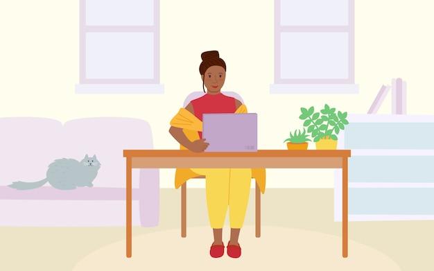 Chica independiente con el portátil en la mesa. quedarse trabajo concepto de hogar. detener el brote y la propagación del virus. Vector Premium